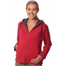 Ladie's Full Zip Contrast Bonded Fleece Hoodie