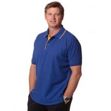 Men's Poly/Cotton Contrast Pique Short Sleeve Polo