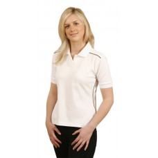 Ladies' Pure Cotton Contrast Piping Short Sleeve Polo