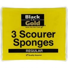 B/GOLD SCOURER SPONGES 3PK