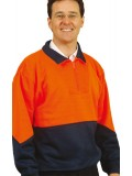 Men's High Visibility Long Sleeve Fleecy Sweat With Collar S - 3XL