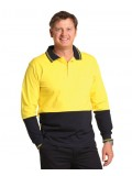 Hi-Vis Cotton Two Tone Long Sleeve Safety Polo S - 3XL