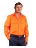 Men's High Visibility Regular Weight Long Sleeve Drill Shirt 5XL,7XL
