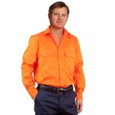 Men's High Visibility Regular Weight Long Sleeve Drill Shirt S - 3XL