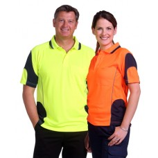 Adults CoolDry® Hi-Vis Mini Waffle Safety Polo