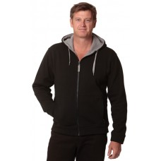 Adults Full Zip Contrast Bonded Fleece Hoodie