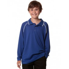 Kids' CoolDry® Long Sleeve Contrast Colour Polo
